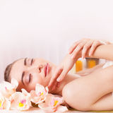 Beautiful woman relax in spa Stock Images