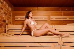Beautiful woman relax taking sauna in spa.  Royalty Free Stock Photos