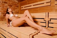 Beautiful woman relax taking sauna in spa.  Stock Photos