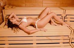 Beautiful woman relax taking sauna in spa.  Stock Photo