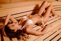Beautiful woman relax taking sauna in spa.  Stock Image
