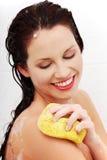 Beautiful woman relaxing during the bath. Stock Photo