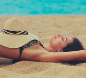 Beautiful woman relaxing on Royalty Free Stock Photo
