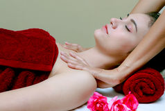Woman relaxing in the beauty treatment,Facial massage Stock Images