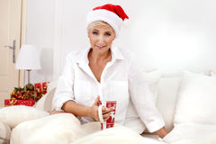 Beautiful woman relaxing, christmas time. Stock Photography