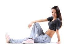 Beautiful woman relaxing after doing exercise Stock Photos