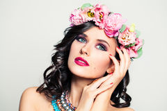 Beautiful Woman Relaxing and Dreaming. Flowers Wreath Royalty Free Stock Images