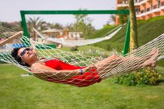 Beautiful woman on the hammock Royalty Free Stock Photography