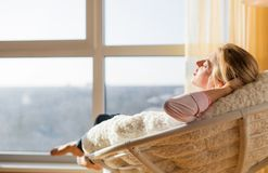 Woman relaxing at home. Beautiful woman relaxing at home Royalty Free Stock Photos