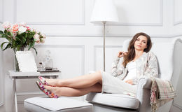 Beautiful woman relaxing at home. Royalty Free Stock Images