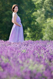 Beautiful woman relaxing in lavender field Royalty Free Stock Image