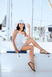 Beautiful woman relaxing on a luxury sailing boat at summer Royalty Free Stock Photography