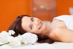 Beautiful woman. Relaxing in massage spa in a close up shot Stock Photo
