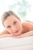 Beautiful Woman Relaxing On Massage Table At Spa Royalty Free Stock Photos