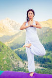 Beautiful woman relaxing and meditating outdoor at mountain Stock Images
