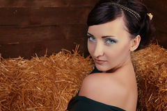 Beautiful Woman relaxing on natural background Royalty Free Stock Image