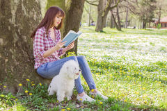Beautiful Woman Relaxing Outdoor Reading Book Stock Image