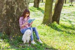 Beautiful Woman Relaxing Outdoor Reading Book Stock Photos