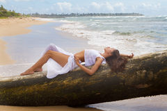 Beautiful Woman Relaxing in Paradise Stock Photography