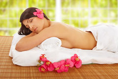 Beautiful Woman Relaxing Spa Stock Photos