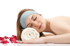 Beautiful woman relaxing at the spa Royalty Free Stock Image