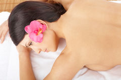 Beautiful Woman Relaxing Spa Stock Photo