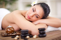 Beautiful woman relaxing in spa center Royalty Free Stock Photo