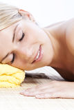 Beautiful woman relaxing at a spa Stock Photo