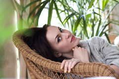 Beautiful woman relaxing in a spa resort Royalty Free Stock Photography