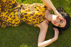 Beautiful woman relaxing at summer garden Royalty Free Stock Photos