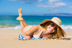 Beautiful Woman Relaxing on Tropical Beach Stock Image
