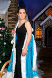 Beautiful woman remove Christmas fancy dress Stock Images