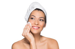 Beautiful Woman Removing Make-Up stock photography
