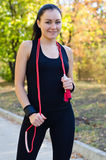 Beautiful woman with a resistance band Stock Photography