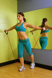 Beautiful Woman with Resistance Band (4) royalty free stock image
