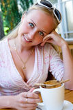 Beautiful woman in the restaurant. Stock Photos