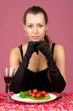 Beautiful woman at the restaurant Royalty Free Stock Image