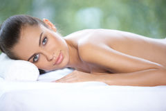 Beautiful woman is resting Stock Images