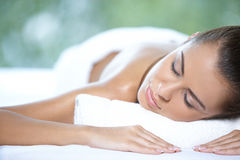Beautiful woman is resting Stock Photography
