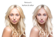 Beautiful woman before and after retouch Stock Photos