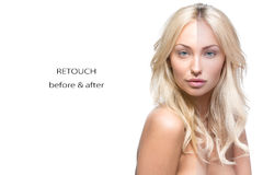 Beautiful woman before and after retouch Royalty Free Stock Images