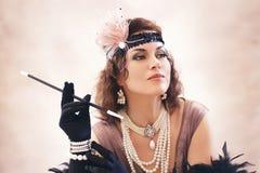 Woman retro flapper style stock photo