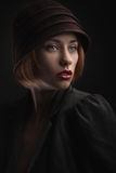 Beautiful woman in retro hat Royalty Free Stock Photos