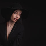 Beautiful woman in retro hat Stock Images