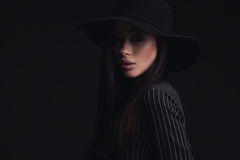 Beautiful woman in retro hat Stock Photography