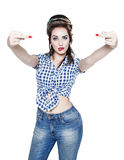 Beautiful woman in retro pin-up style showing middle fingers iso Royalty Free Stock Image