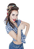 Beautiful woman in retro pin-up style showing thumbs up isolated Stock Photography