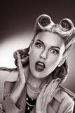 Beautiful Woman Retro Portrait over Grey Background Stock Photo