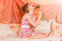 Beautiful woman in retro style Stock Images