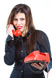 Beautiful woman with retro telephone Royalty Free Stock Images